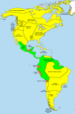 Simplified map of subsistence methods in the Americas at 1000 BCE   hunter-gatherers   simple farming societies   complex farming societies (tribal chiefdoms or civilizations)