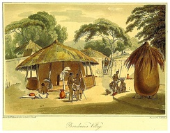 "British colonial drawing of a ""Booshuana village"", 1806."