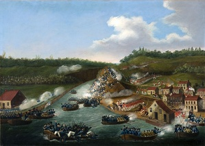 The Battle of Queenston Heights by eyewitness James B. Dennis, depicts the American landing on 13 October 1812. The village of Queenston is in the right foreground, with Queenston Heights behind. Lewiston is in the left foreground