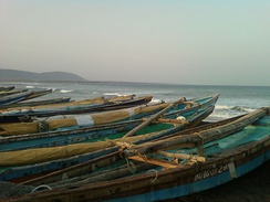 Fishing boats in Visakhapatnam, India