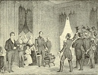 A depiction of Leopold I of Belgium's symbolic offer to resign the crown in 1848