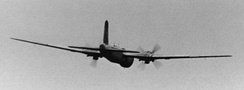 An He 177's outline in flight, heading away from the camera.