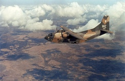 A 19th ACS C-123K over the Mekong Delta, 1969.