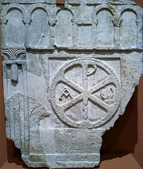 Chi-rho from the Villa Fortunatus in Huesca, Aragon (6th century)
