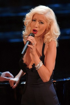 Aguilera performing at the Sanremo Music Festival in 2006
