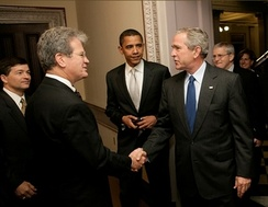 Senators Coburn and Obama and Congressman Jeb Hensarling greet President George W. Bush at the signing ceremony of the Federal Funding Accountability and Transparency Act of 2006