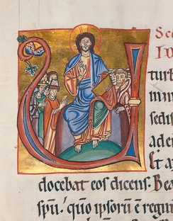 "Christ Pantocrator seated in a capital ""U"" in an illuminated manuscript from the Badische Landesbibliothek, Germany."