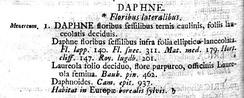 Описание волчеягодника обыкновенного в книге К. Линнея Species plantarum, 1753, Т. I, С. 356. Видовой эпитет mezereum вынесен на поля страницы слева от текста