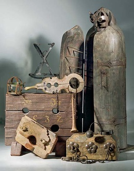 A variety of torture instruments. Many, including the large Iron Maiden of Nuremberg, were never used for torture.