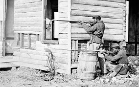 USCT soldiers at an abandoned farmhouse in Dutch Gap, Virginia, 1864