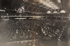 Crowds listen as Root delivers the opening speech of the 1904 Republican National Convention