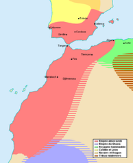 Map showing the extent of the Almoravid empire