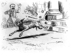 George Yost Coffin cartoon depicting McMillin's reaction to the Supreme Court's decision in Pollock v. Farmers' Loan & Trust Co. (1895)
