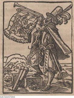 Woodcut by Tommaso Garzoni depicting a town crier with a trumpet