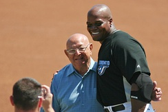 Frank Thomas posing with Angelo Dundee, former trainer of boxing great Muhammad Ali, at Knology Field, Dunedin, Florida