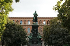 Friedrich Schiller statue in front of the Academy of Fine Arts