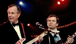 "Lee Atwater ""jams"" with President George H. W. Bush at Inaugural festivity on January 21, 1989"