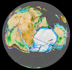 Gondwana 420 million years ago. View centered on the South Pole.