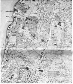 "On a section of Bernard Ratzer's map of New York and its suburbs, made circa 1766, Minetta Creek is labeled ""Bestavaer's Rivulet"" and may be seen in high resolution, exiting into the Hudson River on the left edge about halfway up in the area labeled, ""Abe Mortier Est.,"", below Lady Warren's estate"