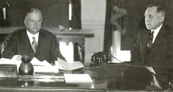 Herbert Hoover in the Oval Office with Ted Joslin, 1932