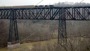 High Bridge over the Kentucky River was the tallest rail bridge in the world when it was completed in 1877.