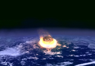 Artist's impression of a major asteroid impact. An asteroid with an impact strength of a billion atomic bombs may have caused the extinction of the dinosaurs.[1]