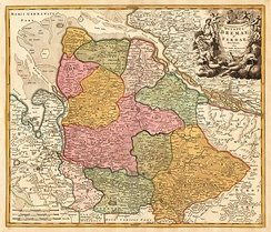 Contemporary map of Bremen-Verden (ca. 1750), including Hadeln, but also the city of Bremen and Hamburg's exclave of Ritzebüttel, de facto and legally no part of Bremen-Verden.