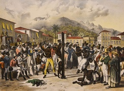 Public flogging of a slave in 19th-century Brazil.