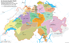 The Helvetic Republic in 1798/99 with the short-lived Canton of Waldstätten