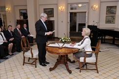 Rudd being sworn in as prime minister on 27 June 2013