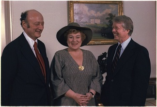 Abzug with New York Mayor Ed Koch (left) and President Jimmy Carter (1978)