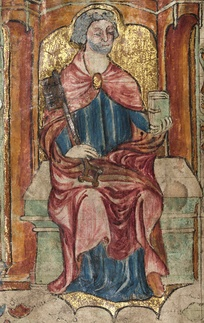 St. Peter, holding a key and a book, depicted in a medieval Welsh manuscript, 1390–1400