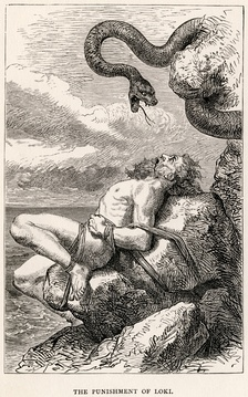 «Наказание Локи». Иллюстрация Луи Уара к The Heroes of Asgard (1900)