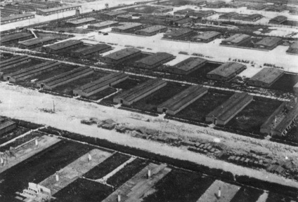 Aerial reconnaissance photograph of the Majdanek concentration camp (June 24, 1944) from the collections of the Majdanek State Museum; lower half: the barracks under deconstruction with visible chimney stacks still standing and planks of wood piled up along the supply road; in the upper half, functioning barracks