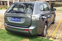 The Outlander plug-in hybrid was available for retail sales in 48 countries by August 2015.[65] Shown charging in Brasilia.
