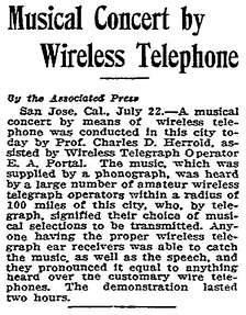 Contemporary review of a July 22, 1912 broadcast.