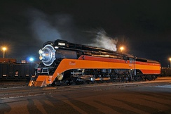 The restored Southern Pacific GS-4 Number 4449 (Daylight) operating in Tacoma, Washington, in June 2011.