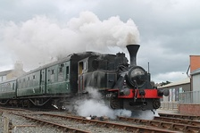 Steam locomotive O&K No. 1 operating at the Downpatrick and County Down Railway