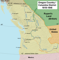 "The Oregon Country. The dispute over Oregon, between Britain and the U.S., led to an uneasy, ""parallel"" governing of the territory for almost 30 years."