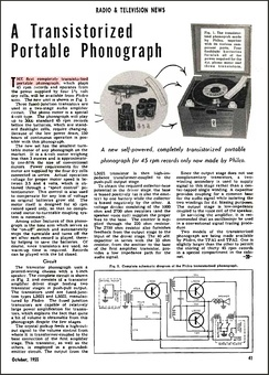 Philco all-transistor model TPA-1 phonograph – Radio and Television News magazine, issue October 1955
