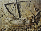 The Ship sarcophagus: a Phoenician ship carved on the face of a sarcophagus. 2nd century AD.