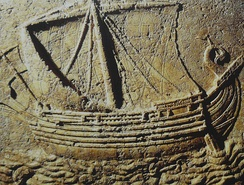 A Phoenician ship carved on the face of a sarcophagus, c. 2nd century AD