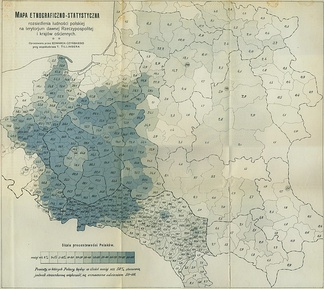 Percentage of Poles living on the former Polish–Lithuanian Commonwealth territories, ca. 1900
