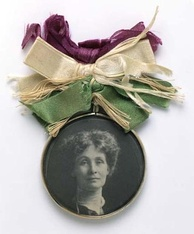 Portrait badge of Emmeline Pankhurst – c. 1909 – Sold in large numbers by the WSPU to raise funds for its cause – Museum of London