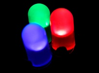 Blue, green, and red LEDs can be combined to produce most perceptible colors, including white.