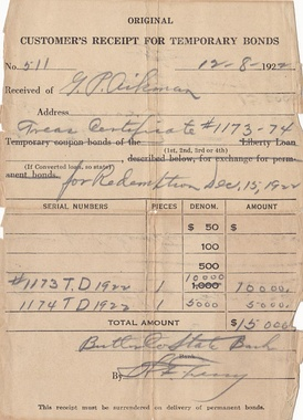 Receipt for temporary bonds for the state of Kansas issued in 1922