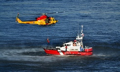 CCGS Cap Aupaluk assisting the Royal Canadian Air Force in a training exercise