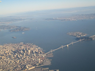 San Francisco is in the foreground in this picture looking north. San Pablo Bay continues north surrounded by parts of (left to right) Marin, Sonoma, Solano and Napa Counties.