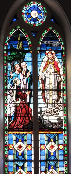 The Second Coming of Christ stained glass window at St. Matthew's German Evangelical Lutheran Church in Charleston, South Carolina, United States.