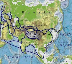 Map showing silk routes